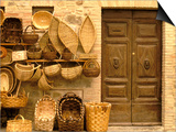 Montalcino, Basket Seller and Wall, Tuscany, Italy Poster by Walter Bibikow