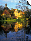 Sunset on Straupe Castle and Reflection Pond, Gauja National Park, Latvia Print by Janis Miglavs