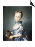 A Girl with a Kitten Prints by Jean-Baptiste Perronneau