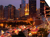 Chicago Navy Pier and Skyline at Night, Chicago, Illinois, Usa Posters by Alan Klehr