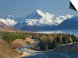 Road to Aoraki Mount Cook, Mackenzie Country, South Canterbury, South Island, New Zealand Art by David Wall