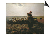 Shepherdess with Her Flock Posters by Jean-François Millet