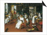 Barber's Shop with Monkeys and Cats Prints by Abraham Teniers