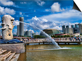 Symbol of Singapore and Downtown Skyline in Fullerton Area, Clarke Quay, Merlion Posters by Bill Bachmann