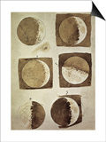 Depiction of the Different Phases of the Moon Viewed from the Earth Print by  Galileo