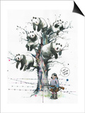 Panda Tree Prints by Lora Zombie