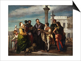Titian Meets the Young Veronese on Ponte Della Paglia Poster by Antonio Zona