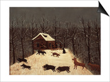 Hunting (Winter with Dogs) Print by Louis Vivin