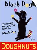 Black Dog Doughnuts Print by Ken Bailey