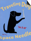 Traveling Dog, Space Needle Print by Ken Bailey