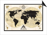 Vintage World Map Print by Devon Ross