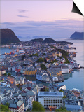 Elevated View over Alesund at Dusk, Sunnmore, More Og Romsdal, Norway Print by Doug Pearson