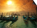 Venice, Veneto, Italy, Gondolas Tied at the Bacino Di San Marco Prints by Ken Scicluna