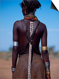 Young Dassanech Girl Wears Hair Partially Braided, Coated in Animal Fat and Ochre, Ethiopia Art by John Warburton-lee