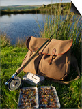 Wales, Conwy, A Trout Rod and Fly Fishing Equipment Beside a Hill Lake in North Wales, UK Print by John Warburton-lee