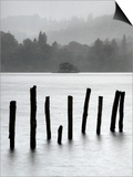 Remains of Jetty in the Mist, Derwentwater, Cumbria, England, UK Posters by Nadia Isakova