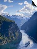 A Cruise Ship Navigates Through Geiranger Fjord, Geiranger, More Og Romsdal, Norway Prints by Doug Pearson