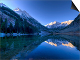 Colorado, Maroon Bells Mountain Reflected in Maroon Lake, USA Print by Alan Copson