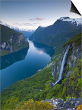 The Majestic Geiranger Fjord Illuminated at Dusk, Geiranger, More Og Romsdal, Norway Poster by Doug Pearson