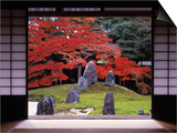 Sand Stone Garden, Komyo-In, Kyoto, Japan Poster by Rex Butcher