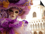 Venice, Veneto, Italy, a Masked Character in Front of the 'Palazzo Dei Dogi' During Carnival Posters by Ken Scicluna