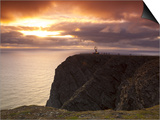 The Midnight Sun Breaks Through the Clouds at Nordkapp, Finnmark, Norway Prints by Doug Pearson
