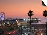 California, Los Angeles, Santa Monica, Santa Monica Pier, Dusk, USA Poster by Walter Bibikow