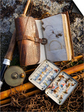 A Split-Cane Fly Rod and Traditional Fly-Fishing Equipment Beside a Trout Lake in North Wales, UK Prints by John Warburton-lee