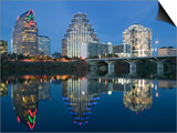 City Skyline Along Town Lake, Austin, Texas, USA Prints by Walter Bibikow