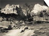 Utah, Zion National Park, Mountain Sunrise by the North Fork Virgin River, Winter, USA Posters by Walter Bibikow