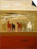 5 Ponies Print by Karen Bezuidenhout