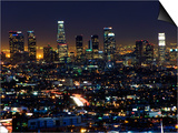California, Los Angeles, City Lights and Downtown District Skyscrapers, USA Art by Christian Kober