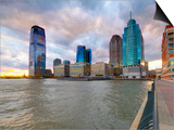 USA, New Jersey, Jersey City on the Hudson River Art by Alan Copson