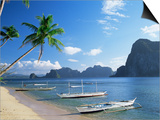 Outriggers at El Nido, Bascuit Bay, Palawan, Philippines Prints by Steve Vidler