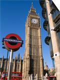Westminster, Big Ben and Underground, Subway Sign, London, England Poster by Steve Vidler