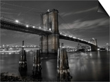 New York City, Manhattan, the Brooklyn and Manhattan Bridges Spanning the East River, USA Print by Gavin Hellier
