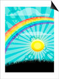Rainbow and Sun over Country Field Poster