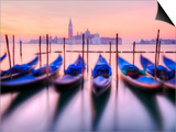 Moored Gondolas with San Giorgio Maggiore in the Background at Dawn, Venice, Veneto Region, Italy Print by Nadia Isakova