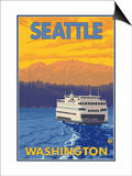Ferry and Mountains, Seattle, Washington Prints by  Lantern Press
