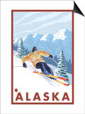 Downhhill Snow Skier, Alaska Prints by  Lantern Press