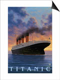 Titanic Scene - White Star Line Plakat autor Lantern Press