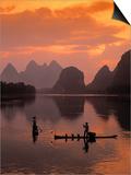 Cormorant Fishermen, Li River, Yangshuo, Guangxi, China Art by James Montgomery