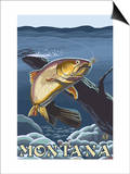 Trout Fishing Cross-Section, Montana Poster von  Lantern Press