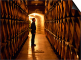 Foreman of Works Inspects Barrels of Rioja Wine in the Underground Cellars at Muga Winery Posters by John Warburton-lee