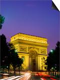 Arc de Triomphe, Night View, Paris, France Print by Steve Vidler