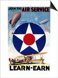 USA - Join the Air Service Learn-Earn WWI Propaganda Poster Prints by  Lantern Press