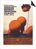 Zurich, Switzerland - Gordon Bennett Hot-Air Balloon Race Poster Art