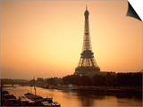 Eiffel Tower and the Seine River at Dawn, Paris, France Prints by Steve Vidler