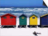 Victorian-Style Bathing Boxes on the Beach, Western Cape, South Africa Poster by John Warburton-lee