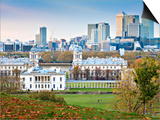 Royal Greenwich Park, National Maritime Musuem, and Canary Wharf in Autumn, London, England Posters by Jane Sweeney